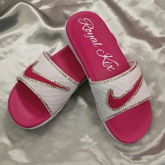 Nike Slides Bling Womens Pink White Silver Crystals  6f0254e25f
