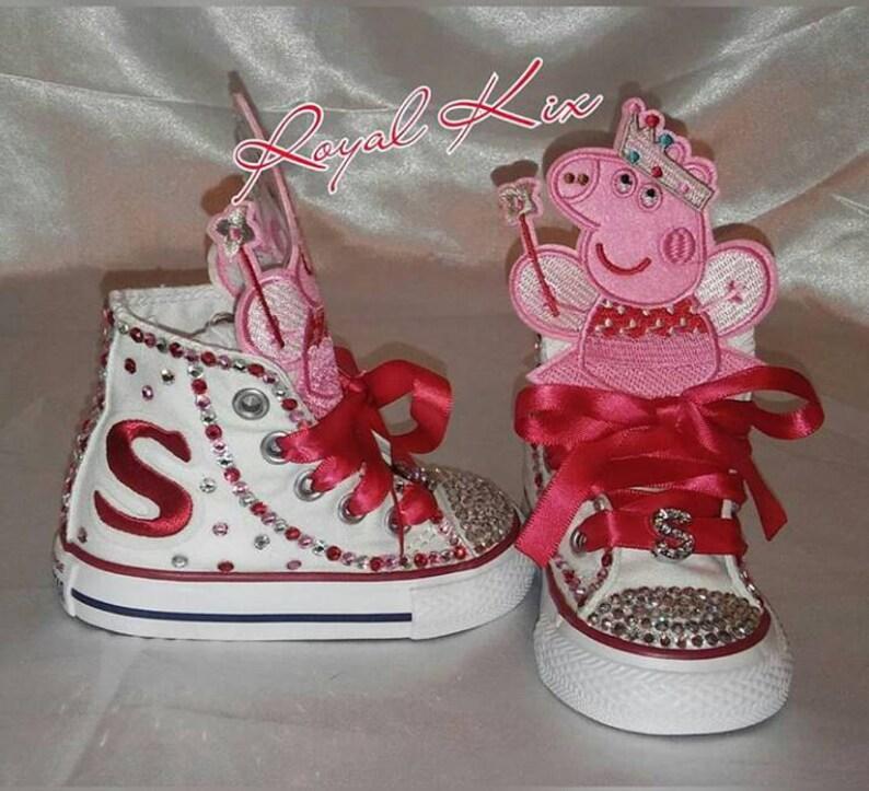 3c43b68bb6d50 Peppa Pig Converse / Bling / Girls / Birthday / Chucks/ Converse/ Party /  Red / Pink