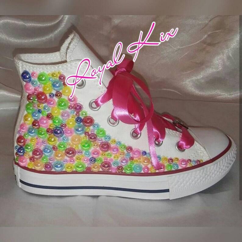 22cb7f33db116 Pearl Converse / Chuck / Birthday / Party / Girls / Pink /Ribbon / Kids  shoes