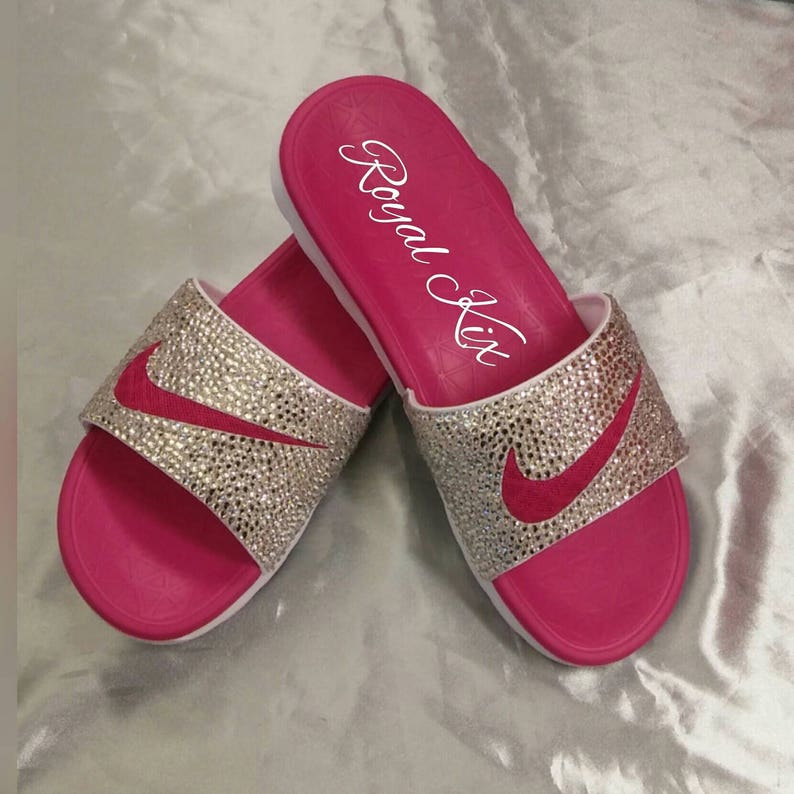 2d7922ce1144ea Nike bling Slides Womens Pink Silver White