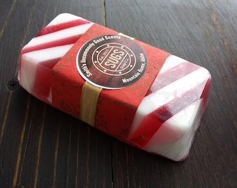 Peppermint Stripe Handmade Soap Handcrafted Bar Soap
