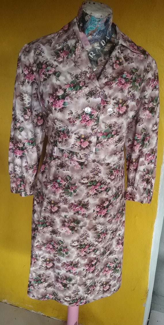 60s cotton floral day dress