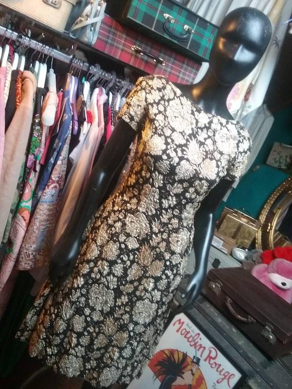 60s Hardy Amies gold bronze brocade dress
