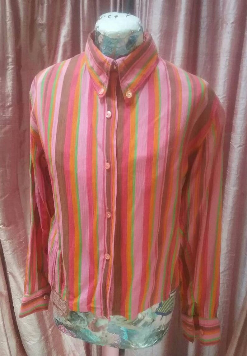 Cheesecloth Multicoloured Blouse Festihippy Reduced By 5Euro