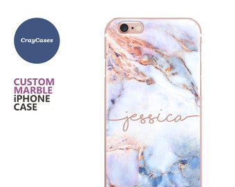 Personalized Marble iPhone 8 Plus Case, iPhone 7 Case, iPhone X case, 6s, 6, SE, 5s, 5c, Samsung Galaxy S8 Plus, s8, S7, s7 Edge (UK MADE)