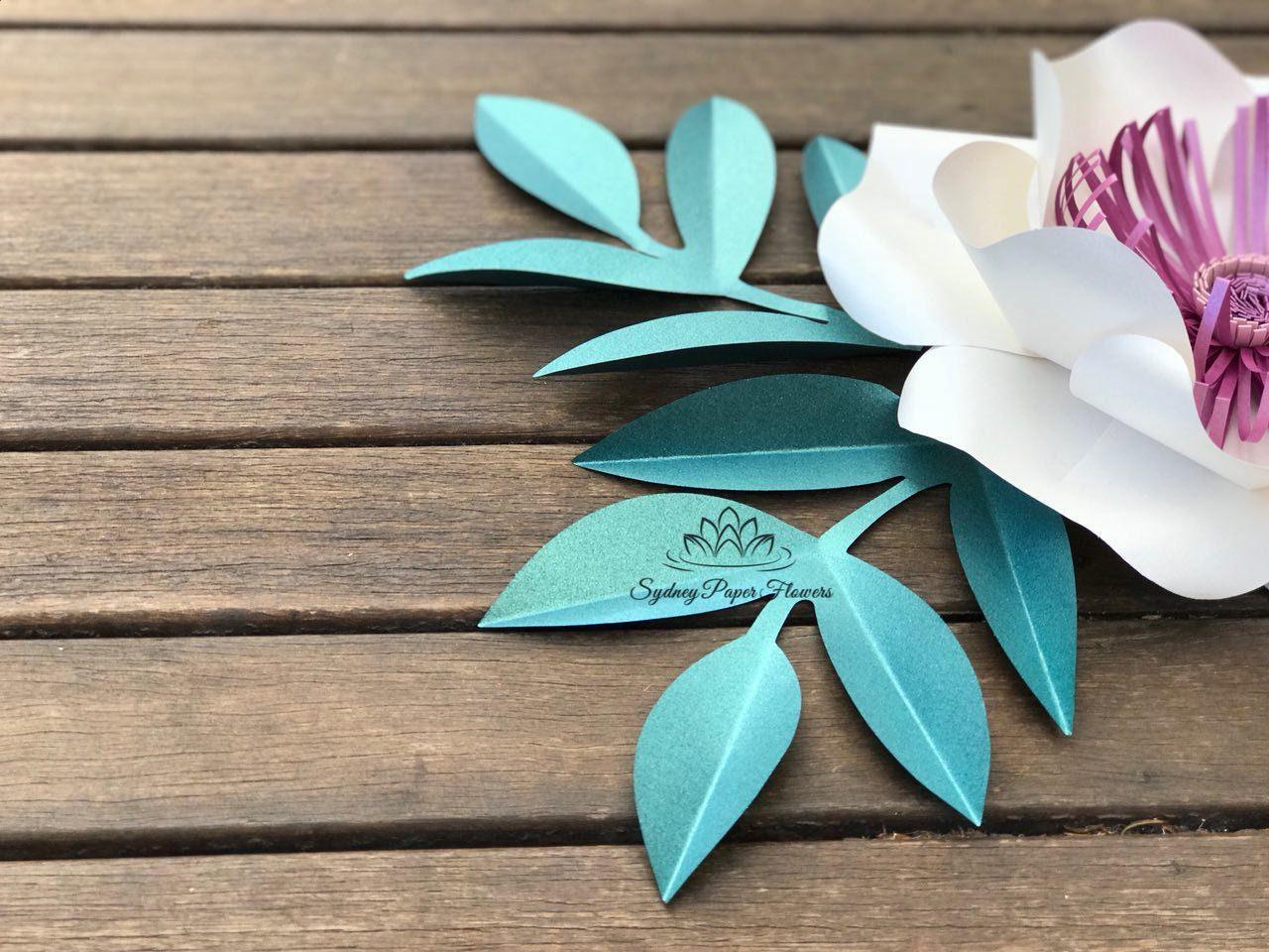 Simple Paper Flower Leaf Template Pdf Svg Patternpaper Leaf Etsy