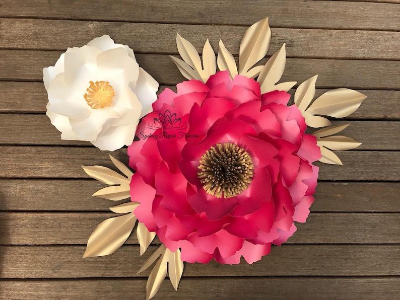 Peony Bundle 2 Paper Flowers And Leaf Templates Video Tutorials Paper Flower Pattern Pdf Svg Cricut Cameo Paper Flower Diy Paper Flower