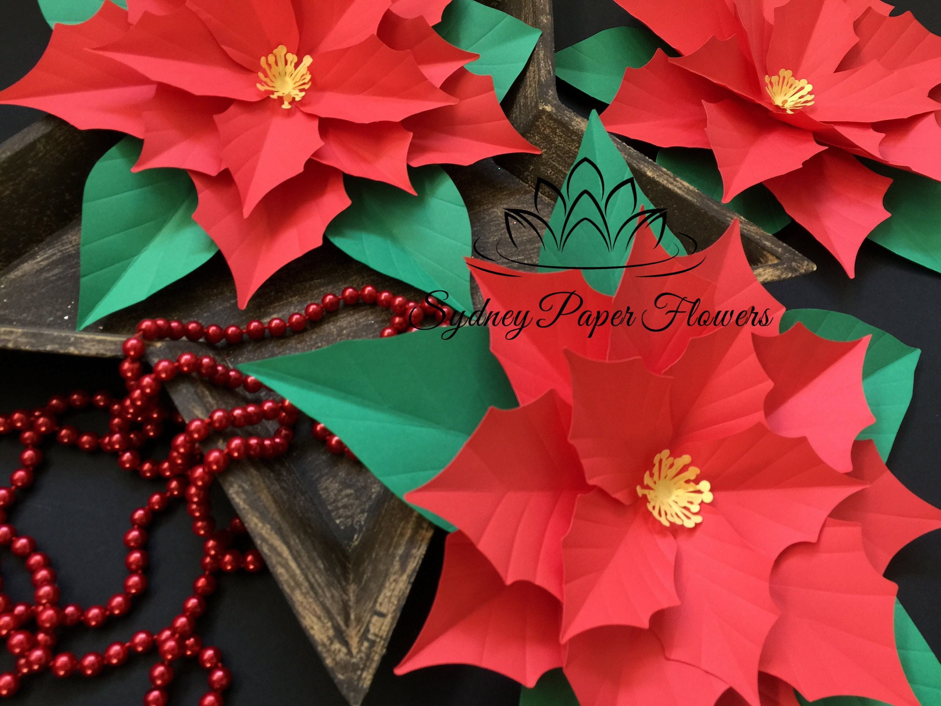 Files Only Poinsettia Paper Flower Template With Pdf Svgpaper