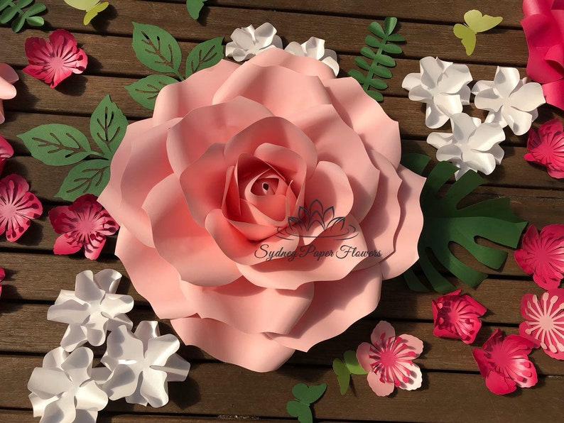 Medium Rose Flower 2 In 1 Template Video Tutorial Paper Flower Pattern Pdf Svg Paper Flower Diy Paper Flower Diy Flower Backdrop