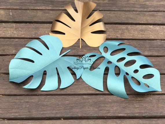 3 Shapes Monstera Leaf Template For Paper Flowers Video Tutorial Pdf Svg Cricut Silhouette Cameo Paper Flower Pattern Paper Leaf Template