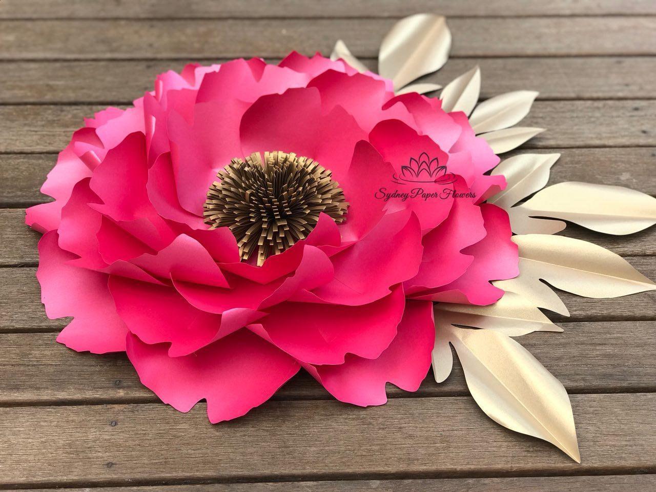 Big Peony Paper Flower Template Video Tutorialpaper Flower Etsy