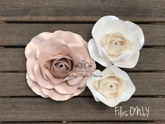 Rose Bud Paper Flower Files Only Template Paper Flower Pattern Diy Paper Flower Backdrop Cricut Cameo Svg Pdf Paper Flower Rose Paper Flower