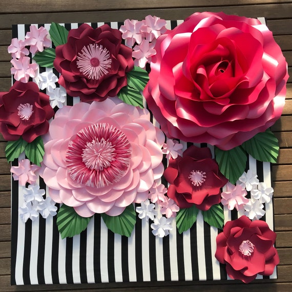Large Rose Flowers Template Video Tutorialpaper Flower Etsy