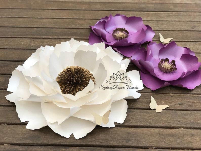 2 Peony Flowers Templates Video Tutorials Paper Flower Pattern Pdf Svg Paper Flower Diy Paper Flower Diy Flowervbackdrop Paper Flower Wall