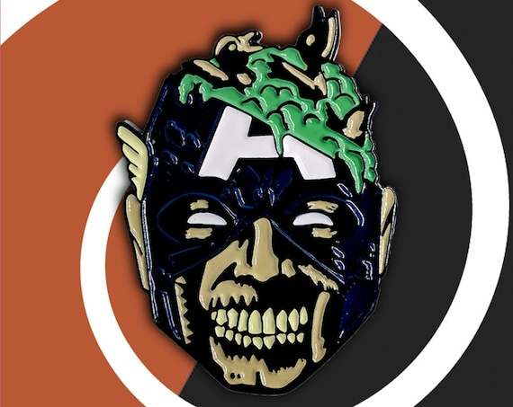 Zombie Captain America | Halloween Enamel Pin Avengers Soft Enamel Infinity War Marvel Zombies Punk Enamel Pin Death Enamel Pin Backpack