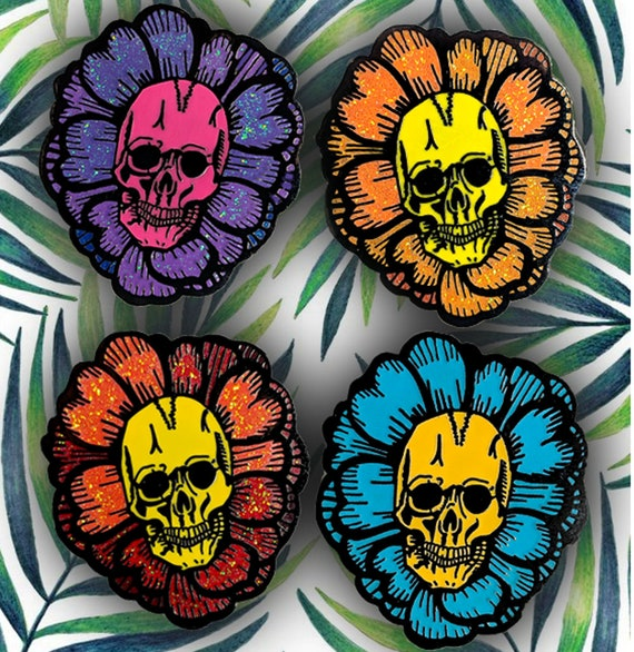Shaka Skull | Hawaiian Hibiscus Hard Enamel Pins Set | Tropical Flowers Goth Pins Punk Glitter Sparkles Halloween Summer
