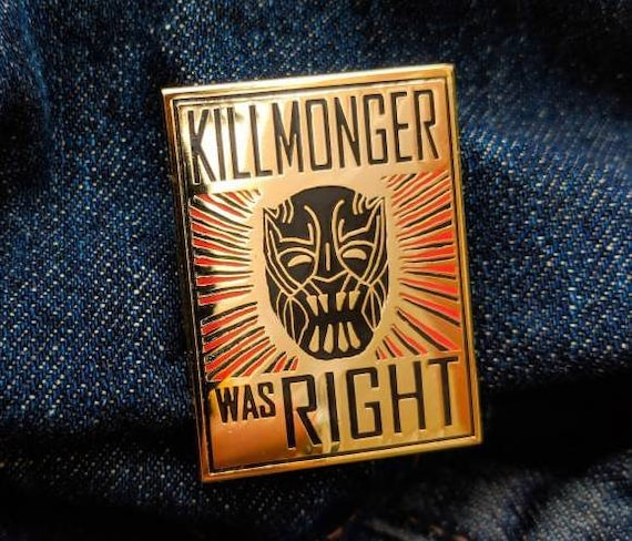 Killmonger was Right Pin | Black Panther Gold Hard Enamel Marvel Comics Punk Enamel Pins T'challa Shuri Propaganda Poster Obey