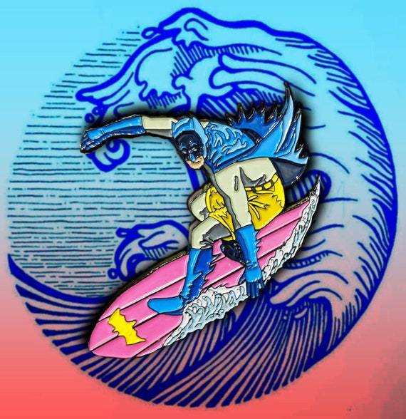 Surfing Batman Pin | Justice League Soft Enamel Pin Punk Enamel Pin Joker Harley Quinn Catwoman Backpack Enamel Pin Surfs Up