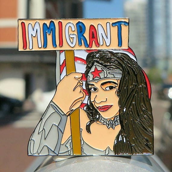 Wonder Woman Justice League Stocking Stuffers Christmas Gifts for Women Defend Daca Woke soft enamel pin Feminist Pin Hillary Bernie Sanders