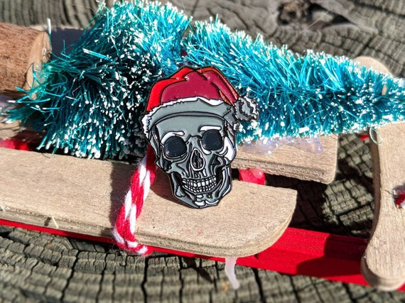 Santa Skull Enamel Pin Christmas Gifts Stocking Stuffers Punk Enamel Pin Death Enamel Pin Horror Enamel Pin Halloween Skeleton Enamel Pin