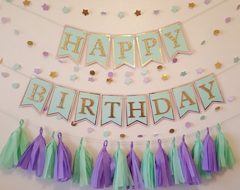 Mint green, lavender and gold Happy Birthday Package/ Glitter Gold, mint and lavender party package
