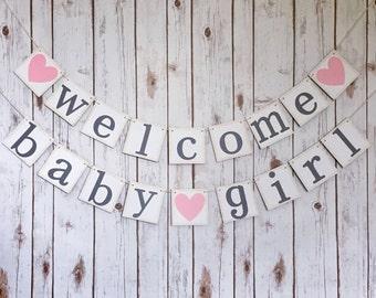 WELCOME BABY GIRL banner, welcome baby girl sign, baby shower banner, baby shower decor, welcome baby banner, welcome baby girl decor