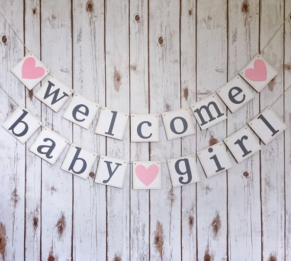 welcome baby girl banner welcome baby girl sign baby shower etsy