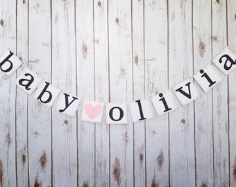 Custom name banner, custom name sign, baby name banner, baby shower decor, baby shower decorations, baby shower banner, baby shower sign