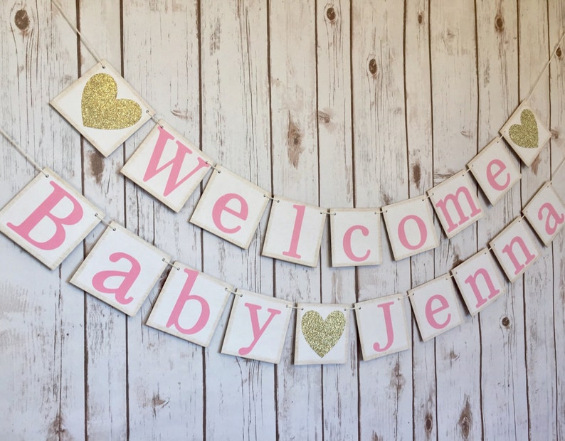 Welcome Baby Banner  Baby shower decorations  baby shower sign  girls baby shower  welcome baby  princess baby shower  pink and gold