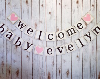 WELCOME BABY BANNER, welcome baby sign, baby shower decor, baby shower decorations, baby shower banner, baby shower sign