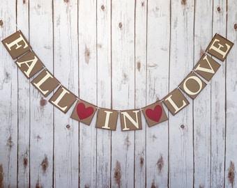 Fall in Love banner, fall wedding decor, fall wedding banner, rustic wedding decor, bridal shower decor, fall in love sign, autumn wedding