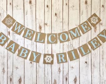 Christmas baby shower banner, Christmas baby shower decor, welcome baby banner, welcome baby Christmas banner, winter baby shower banner