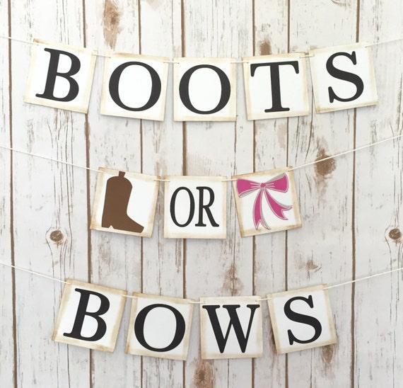 Boots Or Bows Gender Reveal Banner Gender Reveal Sign Baby Etsy