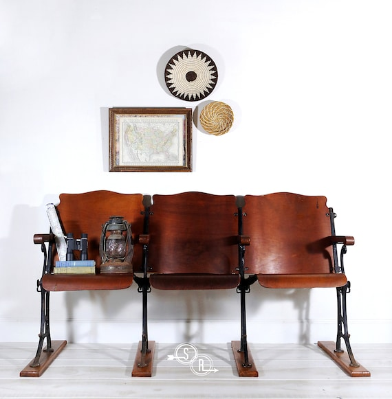 Incredible Theater Seats Industrial Seating Man Cave Entryway Bench Loft Industrial Art Deco Sold Gmtry Best Dining Table And Chair Ideas Images Gmtryco
