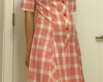 Vintage 60s Red Plaid Dress