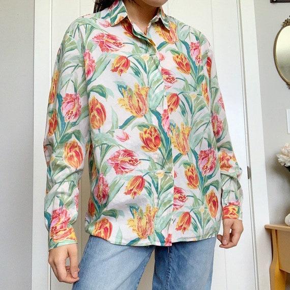 90s Floral Tulip Print Blouse - image 2