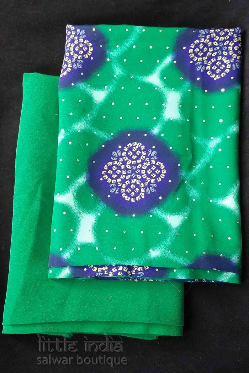Jade green and blue solid and print fabric set 4-23 yards total