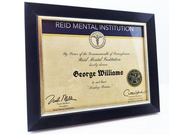 Donkey Brains Certificate, Always Sunny Donkey Brain, Reid Mental Institution, Not Donkey Brained, IASIP, Framed Personalized Certificate