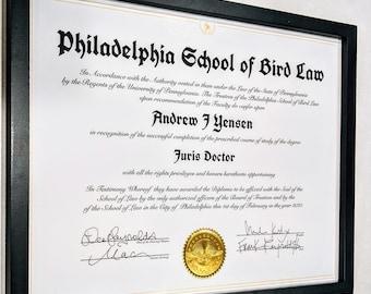 Bird Law Always Sunny, Always Sunny, Custom Diploma, IASIP, Philadelphia School of Bird Law, Framed Diploma, IASIP Bird Law, Funny Gift