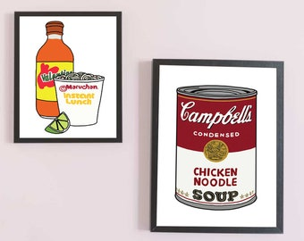 Campbell's Soup Art Print - Campbells Soup Framed Poster - Andy Warhol Reproduction Print - Giclee Print - Pop Art Print - Modern Soup Print
