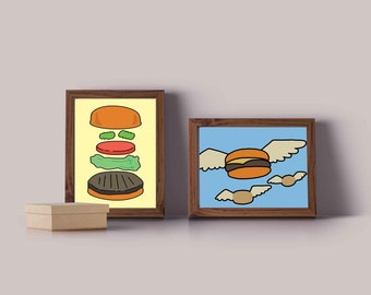 Bob's Burgers Art - Flying Burgers Poster _ Framed Art Print - Flying Hamburger Bobs Burgers - TV Poster Print - Burger Print for your Home