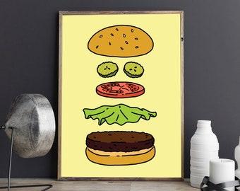 Bob's Burgers Art - Layers of the Burger Poster - Perfect Burger - Framed Art Print - Hamburger Bobs Burger - TV Poster Print - Burger Decor