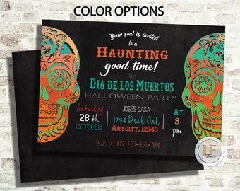 009 Day of the Dead Sugar Skulls Halloween Invitation