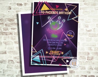 Neon Cosmic Bowling Party Invitation