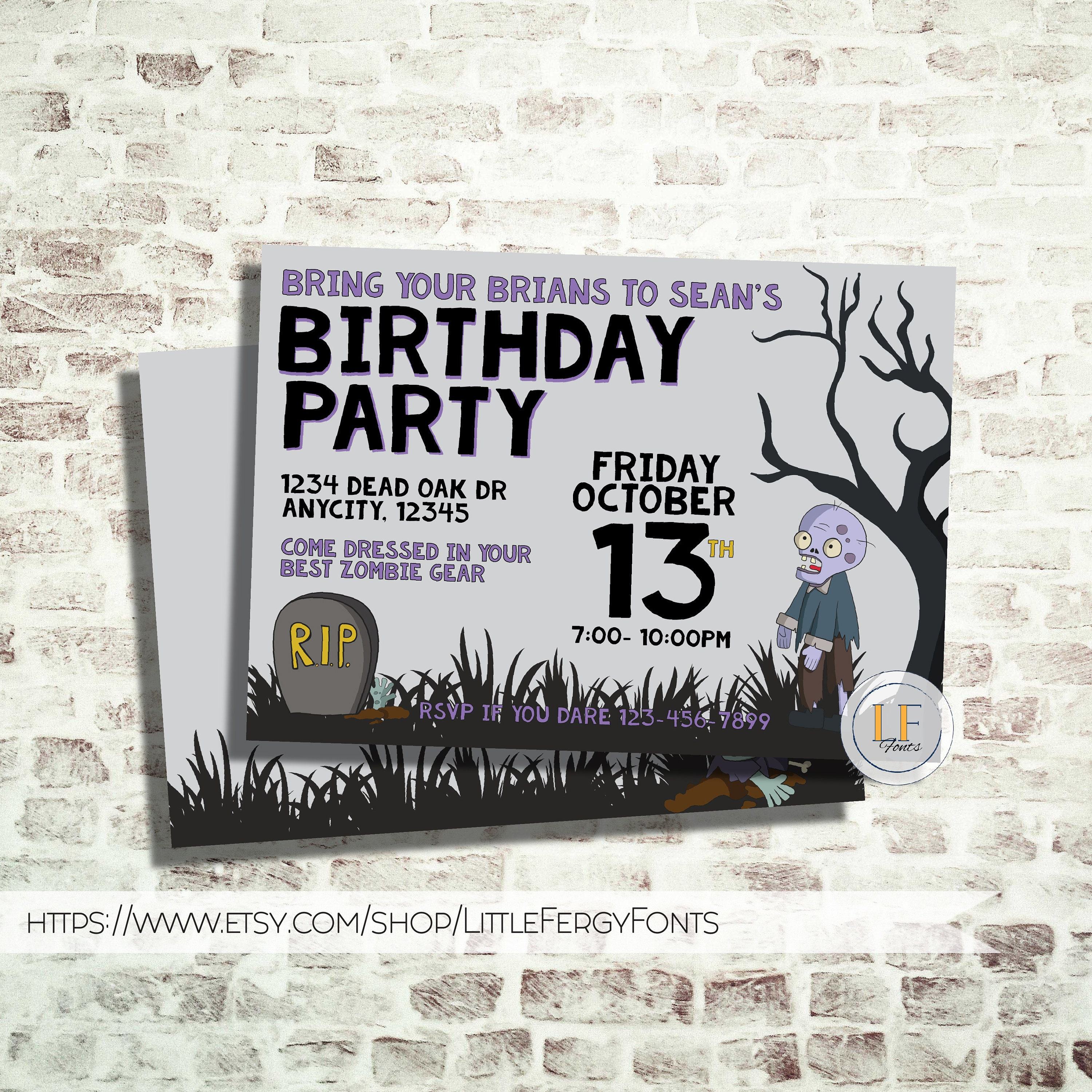 24 HE or LESS // 013 Zombie Halloween OR Birthday Invitation   Etsy