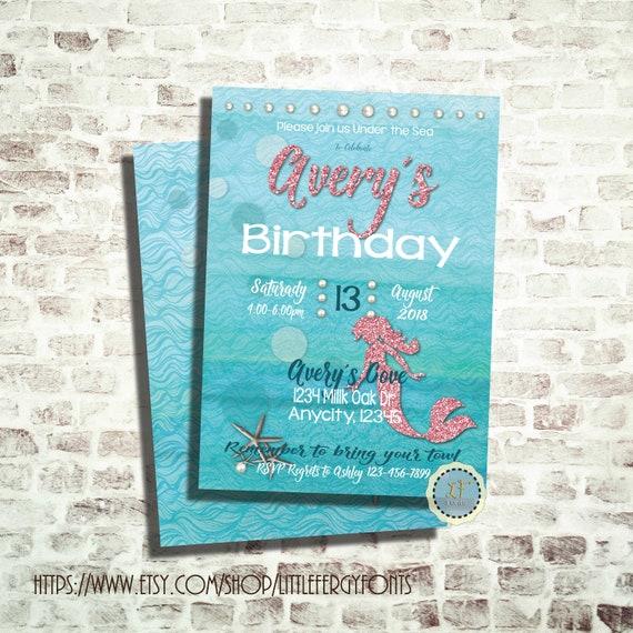 24 HR Or LESS Mermaid Birthday Party Invitation