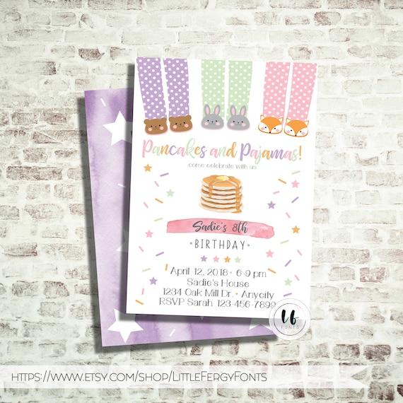 24 HR Or LESS // Pjs & Pancake Party Birthday Invitation