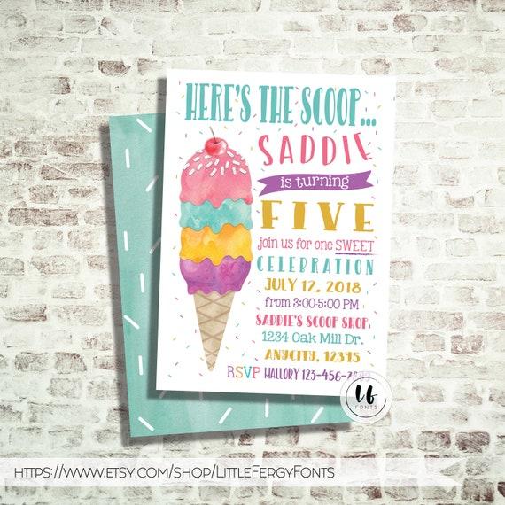 24 hr or less ice cream birthday party invitation etsy image 0 filmwisefo