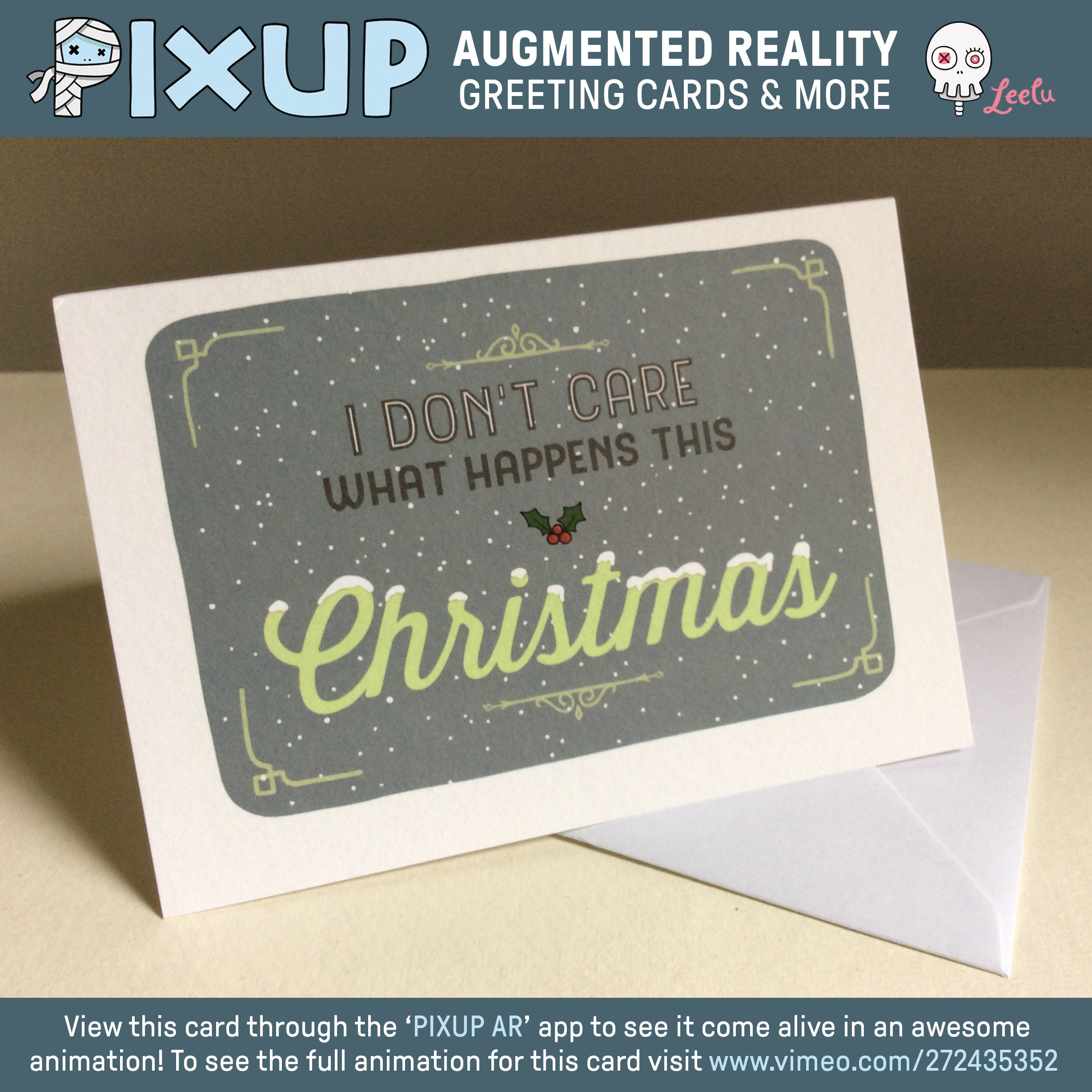 Augmented reality greeting card i dont care this etsy zoom m4hsunfo