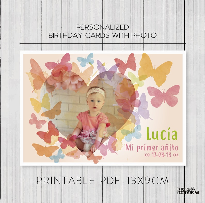 BUTTERFLY Personalized Birthday Cards With Photo Butterfly